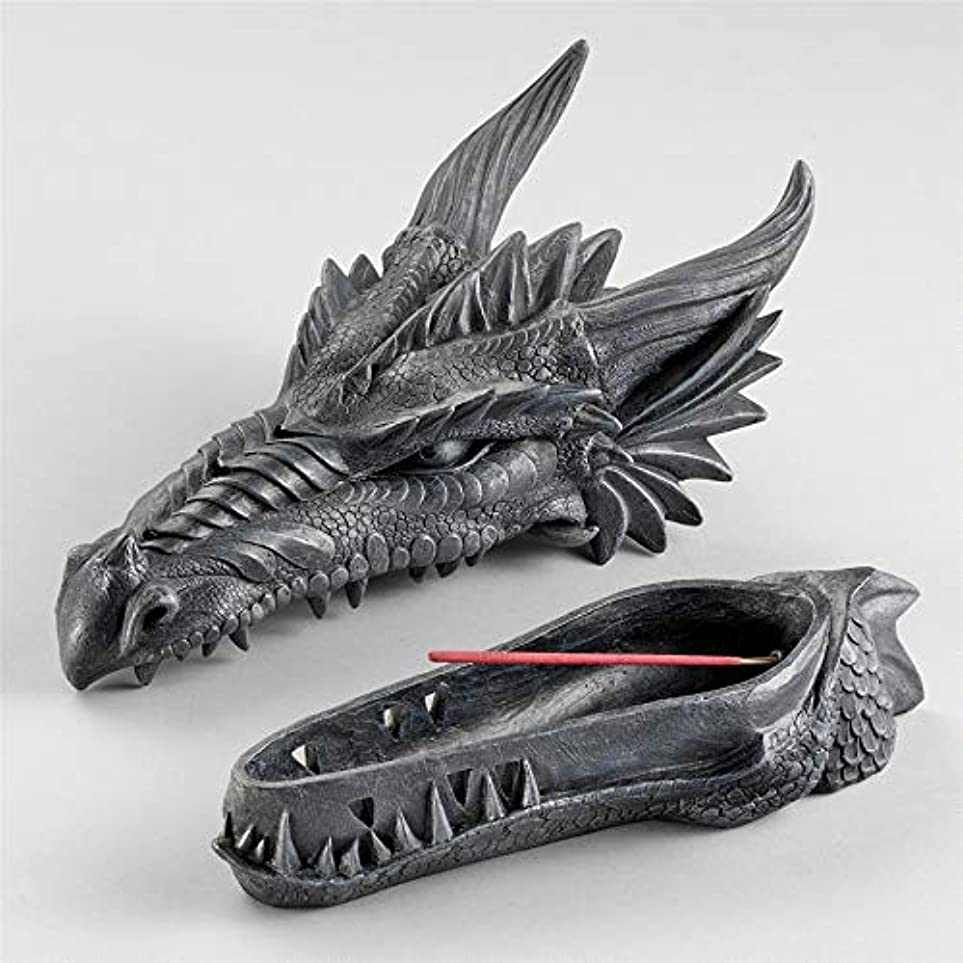 実質的ベアリングサークル帰するDesign Toscano Stryker The Smoking Dragon Sculptural Incense Box in Dark Grey Stone