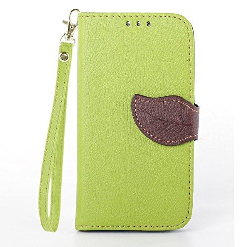 Asng Galaxy S4 手帳型 PUレザーケース [ SC-04E / Galaxy S4 SIMフリー 5 インチ 対応 ] 画面保護 / スタンド / ICカード収納 / ストラップホール Leaf Design TPU Case + ストラップセット (緑&茶)