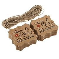 Kesoto 紙製 ギフトタグ ブックマークタグ 掛けやすい 贈り物 アクセサリー バレンタインデー 約100枚入り 全3スタイル2色 - ブラウン, #2