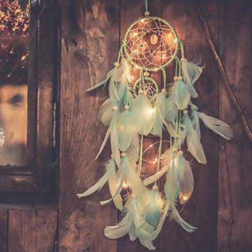Qukueoy Light Up Dream Catchers for Bedroom Wall Hanging Decorations, LED Dreamcatcher Home Ornaments with 20 LED Lights,Fantasy Gifts for Kids, Caught Your Dream Light Green