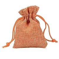 100のギフトバッグ - モノクロリネン糸袋、オープニング、結婚式/メイク/クリスマスギフトバッグ巾着、小さなギフトバッグ ギフトバッグと組織 (Color : Orange, Size : 10x14cm)