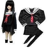aimablerito (エマーブルリト) セーラー服 ハイソックス セット / SD DD 1/3 ドール 用 コスプレ 長袖 制服 衣装 (黒)