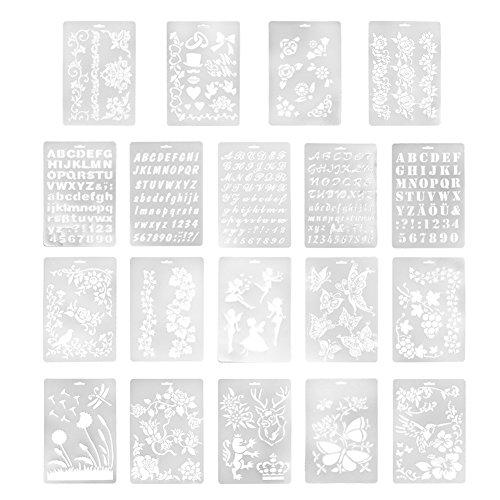 Aspire 19PCS/21PCS プラスチック 絵 塗装 ステンシル テンプレート 花 動物 蝶 洗えるテンプレート 子供 工芸 学校プロジェクト - 色込 19個入り