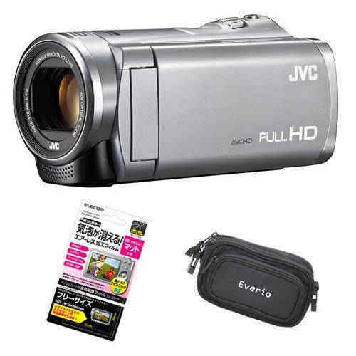 【3点セット】JVC Everio 8GB内蔵メモリー フルハイビジョンビデオカメラ GZ-E880-S シルバー&液晶保護フィルム&カメラバッグ
