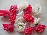 ローズ バラ 造花 花 部分のみ 直径 8センチ 赤 ピンク 白 60個 セット (セットF)