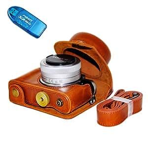 No1accessory XJPT-DDGF7-A09 Panasonic Lumix DMC GF7 (with 12-32mm lens) 専用 防水 PU レザー 一眼レフ カメラバッグ カメラケース ハンドストラップ 付き + SDカードリーダー [並行輸入品]