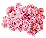 【19blue】 バラ 造花 50個 8cm ブーケ ローズ 薔薇 結婚式 装飾 (ピンク)