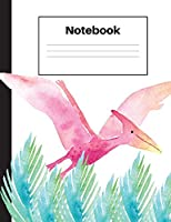 Notebook: Dinosaur Pterodactyl, Blue Fern, Dot Grid, Notebook Home Office School Student Teacher Homeschool, 7.4 X 9.7 In, 200 Pages Kids, School, Home, Students, Teachers