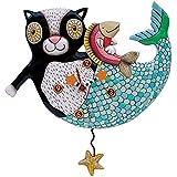 Allen Designs Studios アレンデザイン 振り子時計 掛け時計 「マーキャット」 マーメイド キャット ビーチ 黒猫 魚 ヒトデ 熱帯 P1552 [並行輸入品]