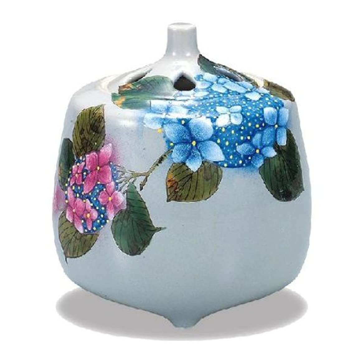 リズミカルなパース美的九谷焼香炉(紫陽花)