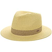 Jeff & Aimy Mens Womens 100% Crocheted Raffia Straw Fedora Panama Beach UV Sun Hats Packable