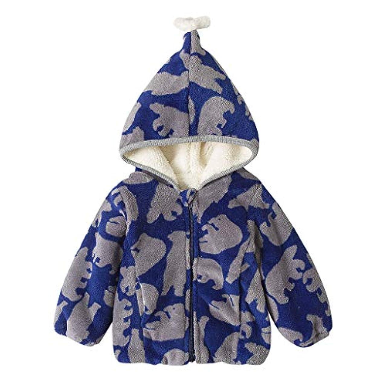 かわいい柄あたたかい男の子女の子赤ちゃん冬コートジャケット子供ジップ厚いスノースーツパーカーオーバーコート屋外かわいいルースソフト快適なブラウストップス