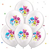 Baby Shark Balloons [12 Inch 50 Count Premium Balloons]   Perfect Baby Shark Birthday   Party Baby Shark Decor   Kids Party Favors Baby Shark Balloons Birthday