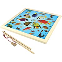 Deercon Baby Kid Wood Magnetic Fishing Game Board 11 Fish Puzzle funny intellegent Toy