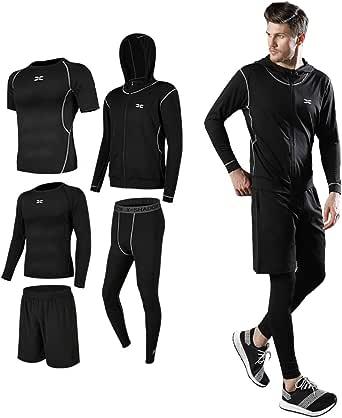 コンプレッションウェア セット スポーツウェア メンズ 長袖 半袖 冬 上下 5点セット 6カラー トレーニング ランニング 吸汗 速乾