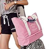 iSuperb トートバッグ ハンドバッグ 帆布 手提げバッグ 旅行かばん 旅行バッグ シューズ収納 折り畳み 多機能 大容量 5色入り (ピンク)