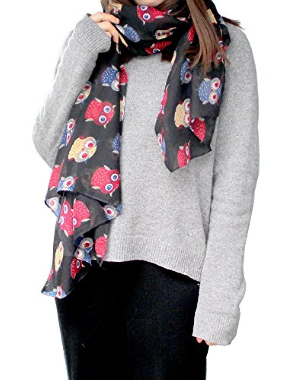 底復活ペンススカーフ ストール レディース 女子 ショール シルク 薄手 日焼け止め 冷房対策 オシャレ フクロウ柄 TSB001