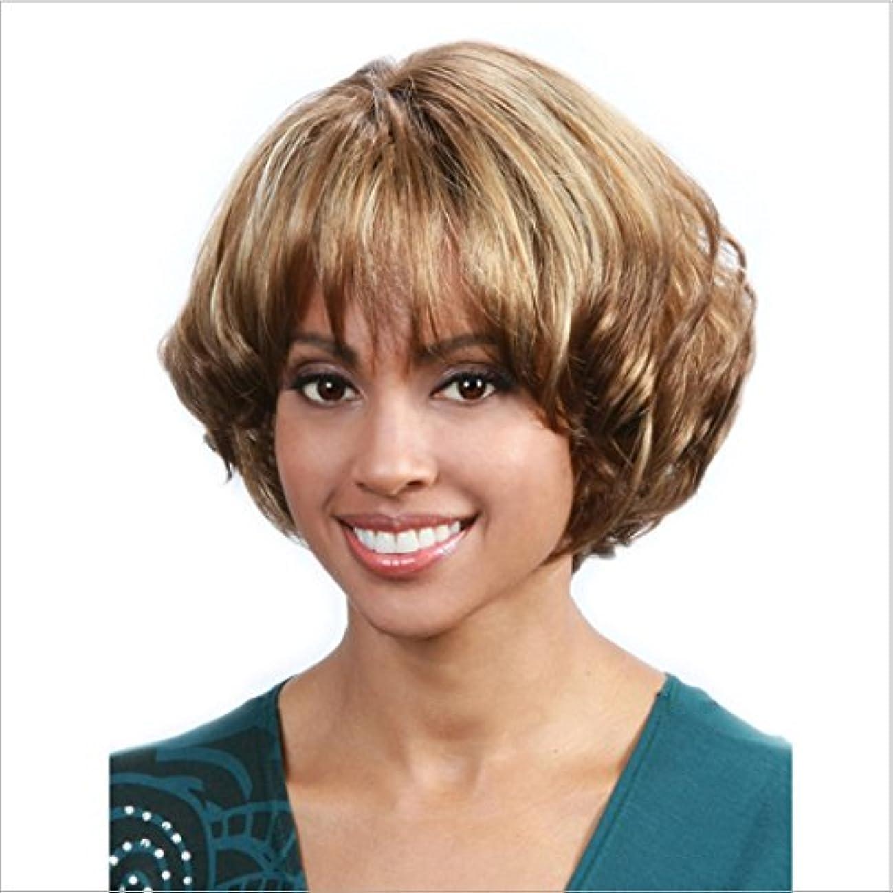 学校発音港JIANFU 白い女性のための混合色のかつらカーリー合成髪短いブラウンと黒ウィッグ耐熱性髪のふわふわウィッグフラットバンズ付き10inch / 150g (色 : Brown and black)