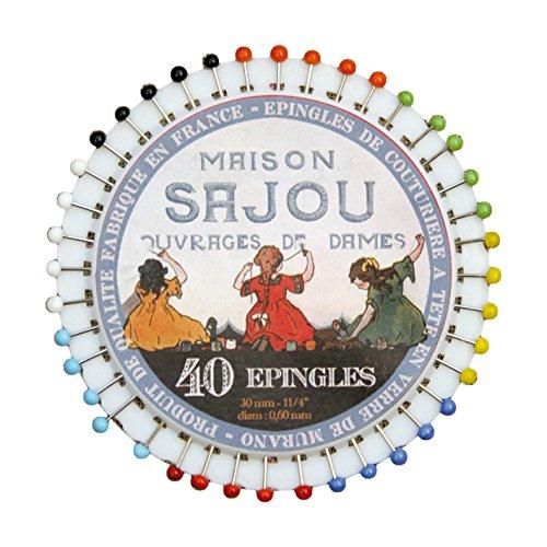 サジュー フランス輸入雑貨 マチ針 40本入り 8cm×8cm PINS5