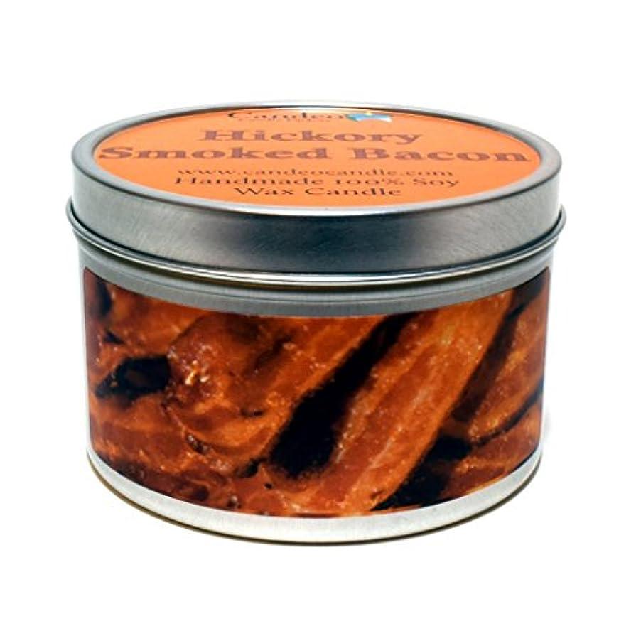 危険にさらされている中央値好む(180ml) - Hickory Smoked Bacon Super Scented Soy Candle Tin (180ml)
