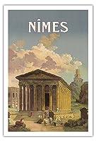 ニーム、フランス - メゾンカレローマの神殿 - PLM鉄道 - ビンテージな鉄道旅行のポスター によって作成された c.1920 - アートポスター - 76cm x 112cm