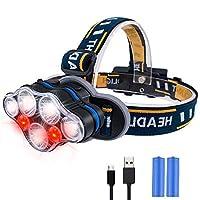 ヘッドライト、iToncs LEDヘッドランプUSB充電式ヘッドトーチ8モード、赤色警告灯付き、明るいヘッドランプヘッドトーチライト、キャンプハイキングフィッシング用(2 * 18650バッテリーを含む)