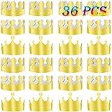 TUPARKA 金色王冠 36ピース 金箔 紙製 パーティー 王冠 帽子 キャップ 誕生日 お祝い ベビーシャワー 写真小道具 (ゴールド)