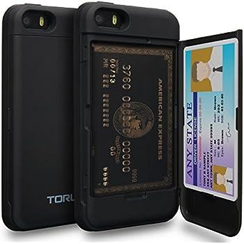 8218d5c672 TORU CX PRO iPhoneSEケース カード 収納背面 3枚 IC Suica カード入れ カバ― ミラー付き (アイフォン SE/アイフォン  5S / アイフォン 5 用) - ブラック