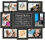 Malden International Designs Family Rules Dimensional Collage Black Picture Frame, 8 Option, 6-4x6 & 2-4x4, Black by Malden International Designs