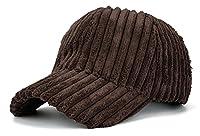 MTFSユニセックス秋冬ストライプコットンコーデュロイキャップ調節可能な野球帽 (ブラウン)
