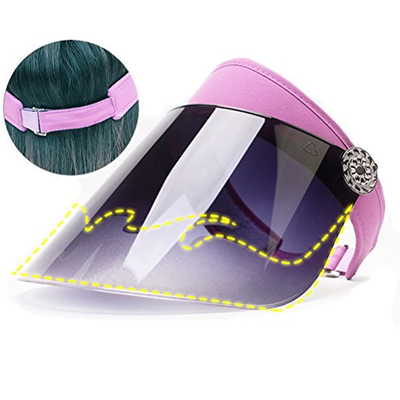 減少揺れる楽しむnacola太陽帽子、空上部調整可能夏バイザーレンズシートWide Brimmed Cap