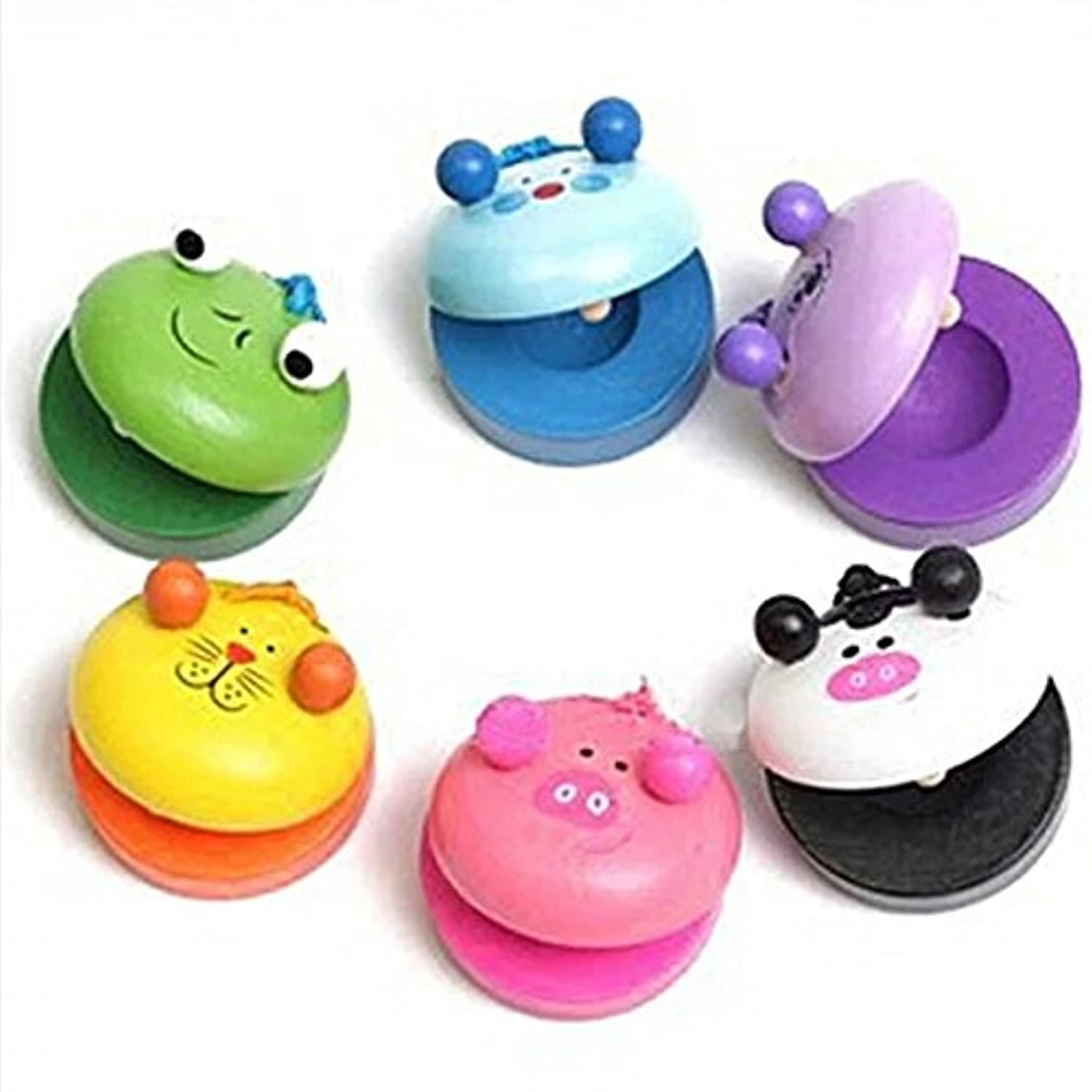1pc Wooden Animals Castanets Kids Musical Instrument Play Toys Round Character Castanets Pocket Funny Educational Toy