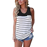Start Women's O-Neck Casual Stripe Lace Pocket Tank Tops Shi