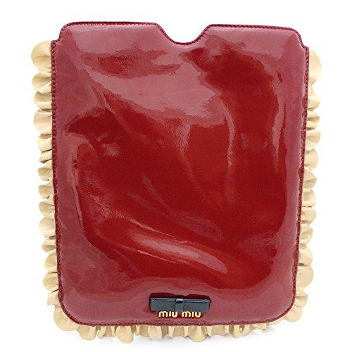 miumiu (ミュウミュウ) iPadケース レディース タブレットケース リボン ロゴ アイパッド エナメル パテントレザー レッド 赤 5ARE43(中古)