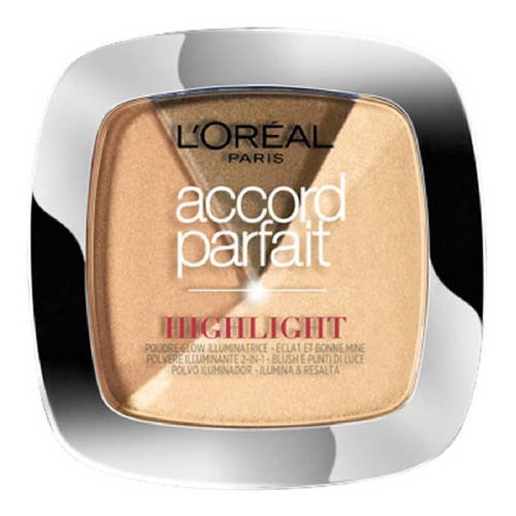 障害成功したメタリックL 'Oréal Paris - ACCORD PARFAIT Highlight Enlumineur Poudre - 102 Dore