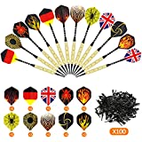 Gyvazla 12 Pc 18g Plastic Tipped Darts Set with Aluminum Shafts, Brass Steel Barrels with 6 Style Flights,100 Tip Points for Dartboard, Fit for Every Rec Room, Man Cave, Bar and Game Room