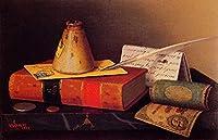 ¥5K-200k 手書き-キャンバスの油絵 - 美術大学の先生直筆 - 静物 Writing Table Irish painter William Harnett 絵画 洋画 複製画 ウォールアートデコレーション -サイズ01