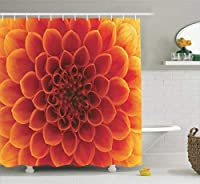 Ambesonne Abstract Home Decor Collection, Abstract Flower and Petals Seasonal Blossom Close Up Picture Gardens Image Print, Polyester Fabric Bathroom Shower Curtain Set with Hooks, Dark Orange [並行輸入品]