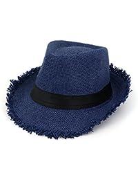 Yaojiaju 夏のストロー帽子、夏の日曜日の休暇Trilby生の枝フェドラビーチハット女性の女性のための