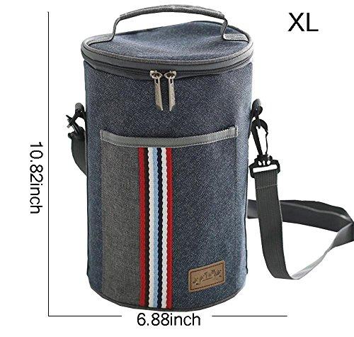 デニムブルーInsulated Lunchバッグオックスフォードファスナー付きバケットピクニッククーラーバッグwith Shoulderストラップ XL 80055