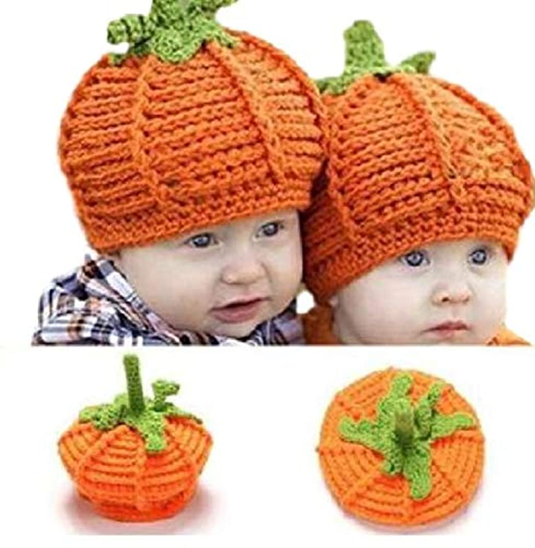 彼女はそこから恥ずかしい【mon luxe】 ハロウィン コスプレ かぼちゃ ニット帽 キッズ パンプキン 衣装 赤ちゃん ベビー カボチャ 帽子