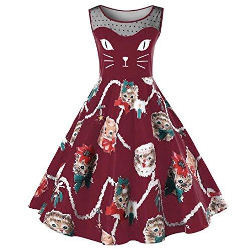 ea32851fa0808 BAO8 ドレス ねこ柄ワンピース 袖なしドレス ひざ丈スカート ミニスカート 丸首ワンピース セクシー