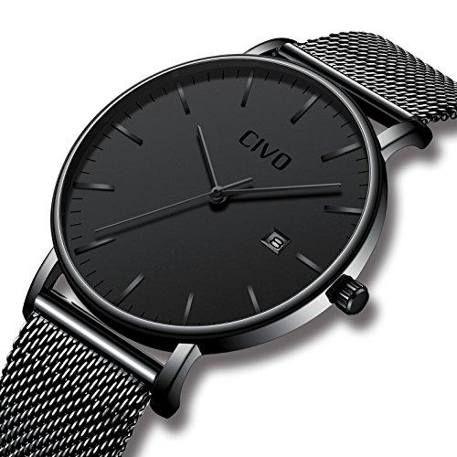 [チーヴォ]CIVO腕時計 メンズ超薄型ウオッチブラック ステンレススチール 日付カレンダーアナログクオーツ防水時計 シンプルデザインラグジュアリーメッシュビジネスカジュアル腕時計
