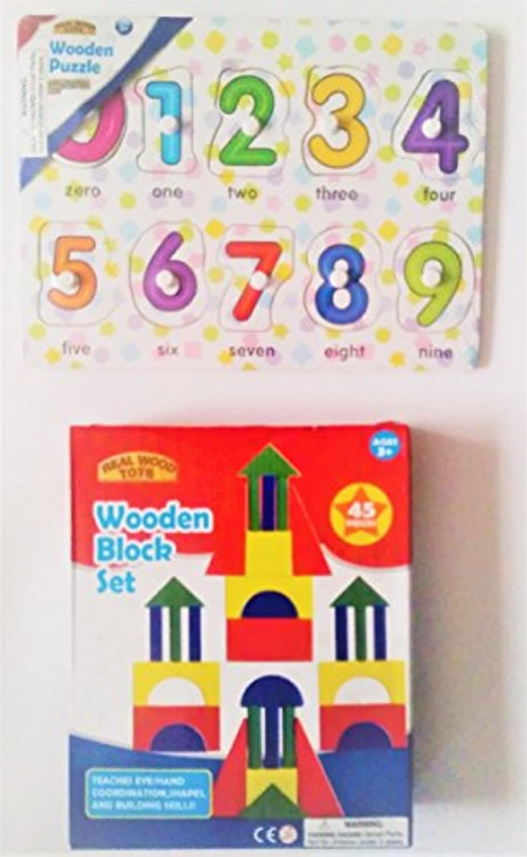 Real Wood Toys : 11 Piece木製パズル数と45ピース木製Blockセット