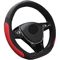 ZATOOTO車ハンドルカバー d型 ステアリングカバー 吸汗 滑り防止 グリップ感抜群 耐用 puレザー LY128-R
