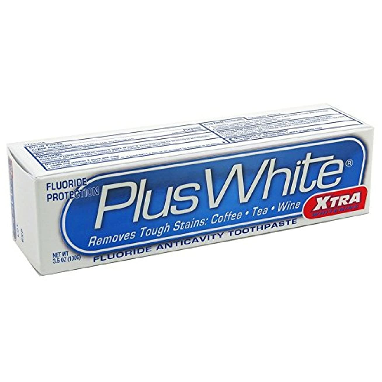 最近侵入する粘着性Plus White ホワイトニング+保護歯磨き、エクストラホワイトニングパワークール&さわやかなミント3.50オズ(3パック)