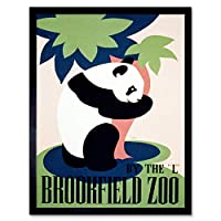 Cultural Advert Brookfield Zoo Panda USA Vintage Art Print Framed Poster Wall Decor 12X16 Inch 文化的広告アメリカ合衆国ビンテージポスター壁デコ