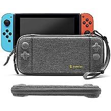 Nintendo Switch スリム 保護 ケース、tomtoc オリジナル 薄型 キャリングケース 10枚ゲームカード収納 バッグ 耐衝撃 ハンドストラップ付き 持ち運び便利、MIL規格取得 – グレー