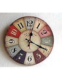 Moana Mahana(モアナマハナ) 壁掛け時計 北欧風 西海岸 カラフル インテリア ウォール クロック レトロ アンティーク 木製 直径30cm (30cm, レトロ 北欧風)