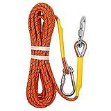 多目的ロープ ダイナミックロープ クライミングロープ 高強度 多機能 太さ8mm 長さ 20m 30m 50m オレンジ (オレンジ-10M)